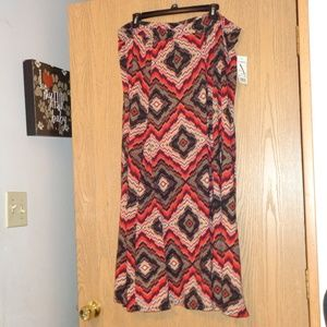 Ny Collection Red Glowing Pattern Maxi Skirt 2X